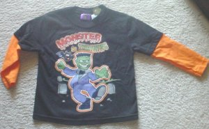 """NEW Toddler HALLOWEEN T-SHIRT """"Monster In Training"""" Layered Top SIZE 3T BLACK"""