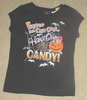 NEW Girls HALLOWEEN TEE Graphic 'Hand Over the Candy' Top SIZE 7/8 BLACK
