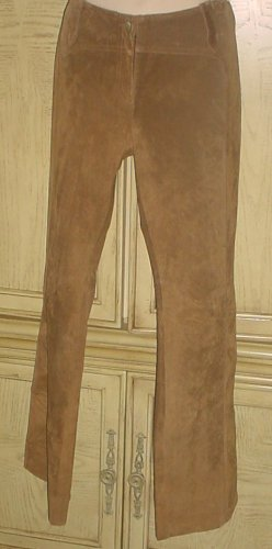 New WENDY HIL GENUINE SUEDE PANTS Flat Front SIZE 10 BROWN Fully Lined