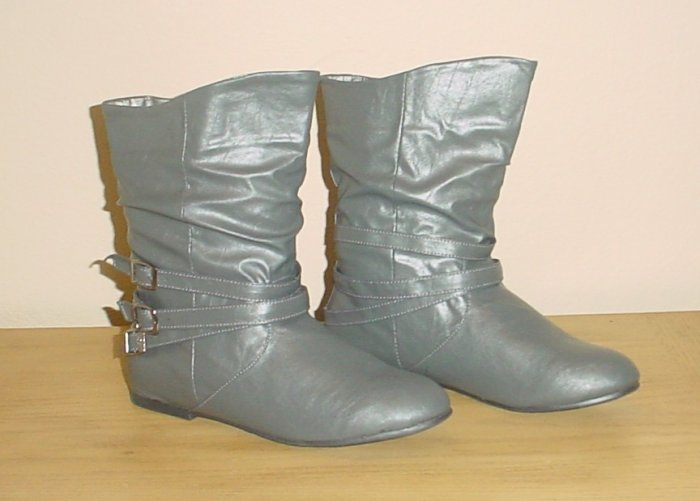 NEW Ladies ANKLE BOOTS Slouchy Buckle Flats Shoes SIZE 7.5 GRAY