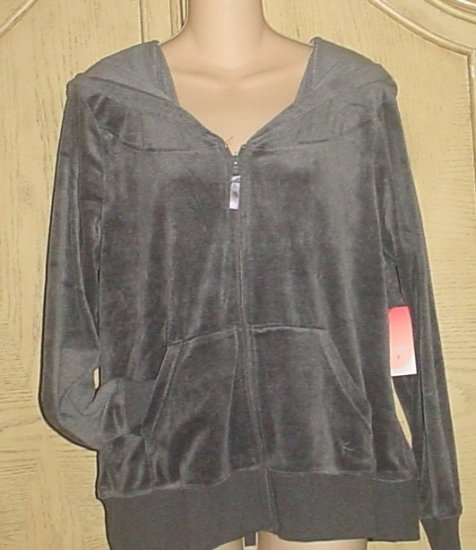 NEW Womens Danskin VELOUR HOODIE JACKET XL (16/18) Smoky Gray