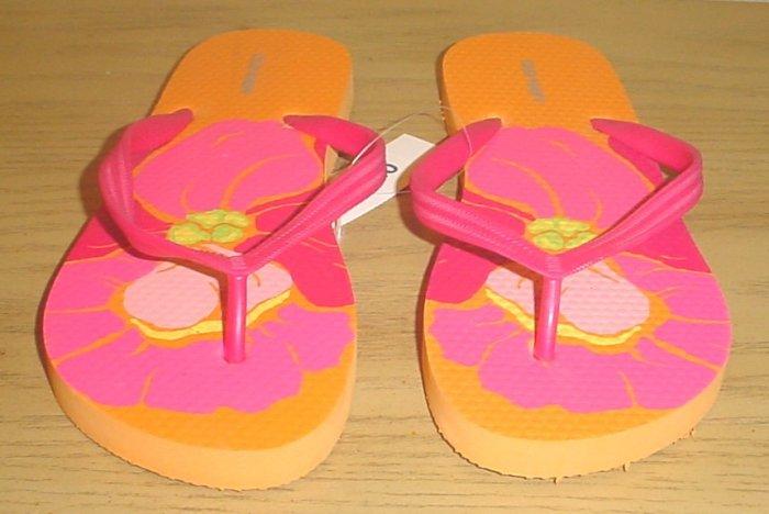 NEW LADIES Old Navy PRINT FLIP FLOPS Thong Sandals SIZE 7 ORANGE HAWAIIAN PRINT Shoes