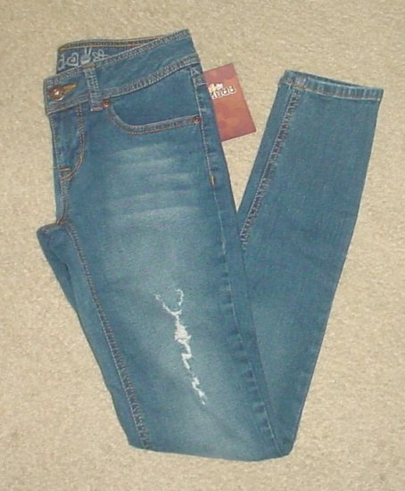 MUDD SUPER SKINNY JEANS Stretch Denim SIZE 0 Distressed Pants