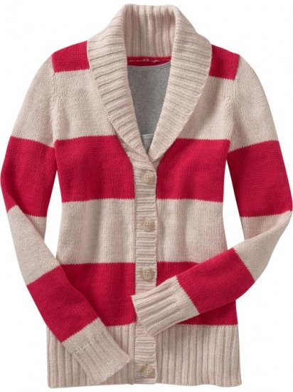 NWT Old Navy BOYFRIEND CARDIGAN Shawl Collar Sweater XXL 16/18 RED & CREAM STRIPE