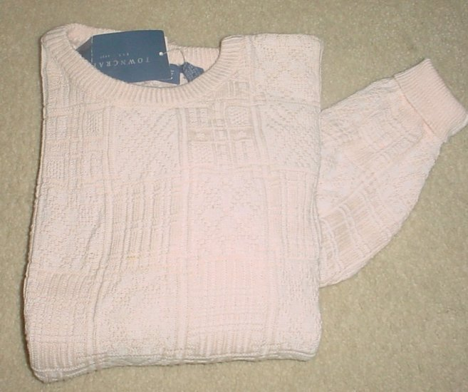 NEW Towncraft WOMENS CREW NECK SWEATER 100% Cotton SIZE LARGE Soft Peach
