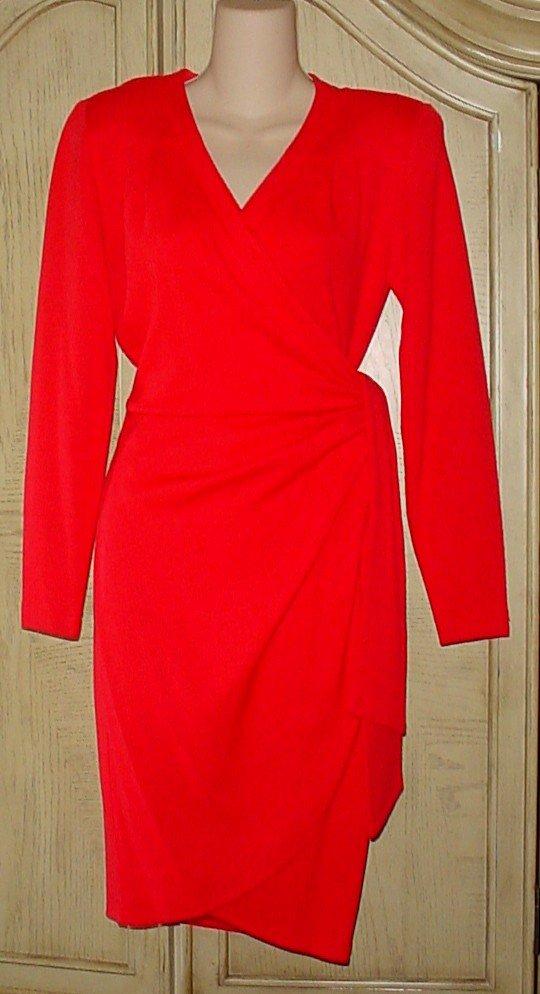 Ladies LIZ CLAIBORNE WRAP DRESS Wool Blend SMALL 4/6 RED