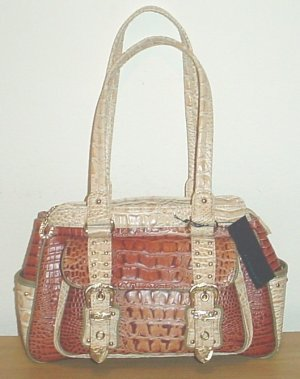 NEW Lucidity CROC SATCHEL HANDBAG Purse TOBACCO BROWN Bag