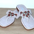 Nicole BEADED SANDALS Ladies Thong Shoes 7M TAN SUEDE