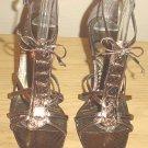 NIB VIA SPIGA GLADIATOR HEELS Metal Whips Sandals SIZE 6.5 BRONZE Snakeskin LEATHER Shoes