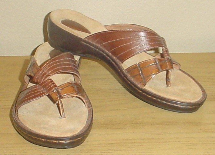 NEW Ladies CLARKS SANDALS Leather Shoes SIZE 11M CHESTNUT BROWN Slides