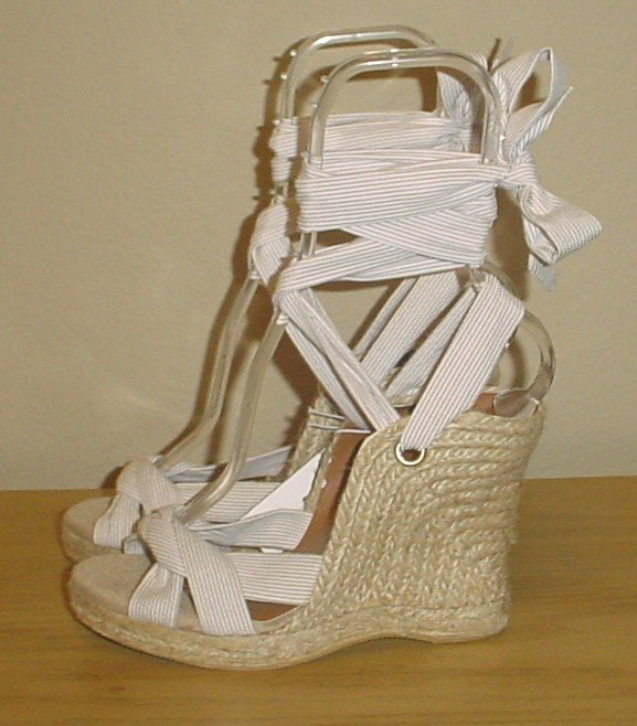 NEW Old Navy PLATFORM ESPADRILLES Ankle Tie Wedge Sandals SIZE 8M (38) KHAKI STRIPE Shoes