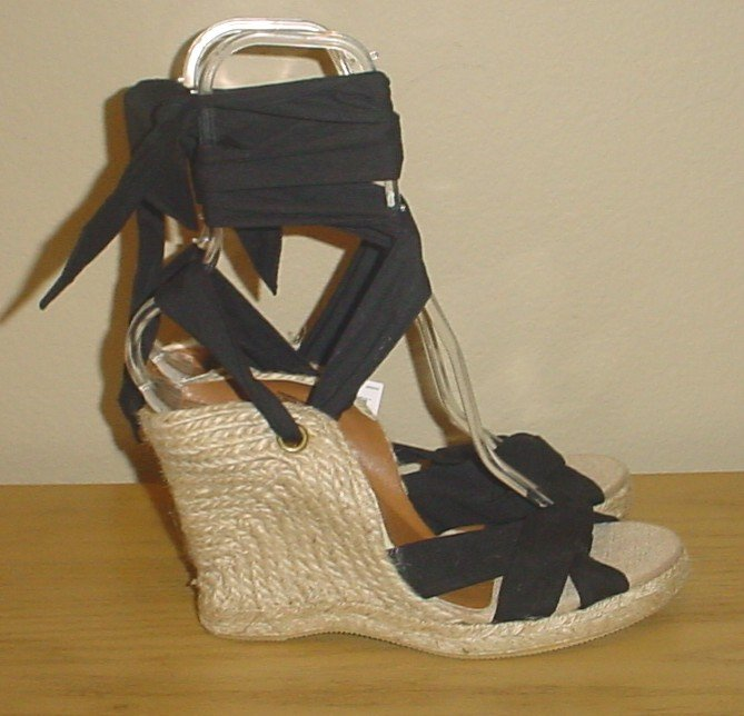 New ANKLE TIE ESPADRILLES Old Navy Platform Sandals SIZE 8M (38) BLACK Shoes