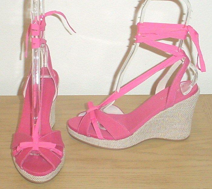 NEW Unisa PLATFORM ESPADRILLES Ankle-Tie Shoes SIZE 7.5 PINK Sandals