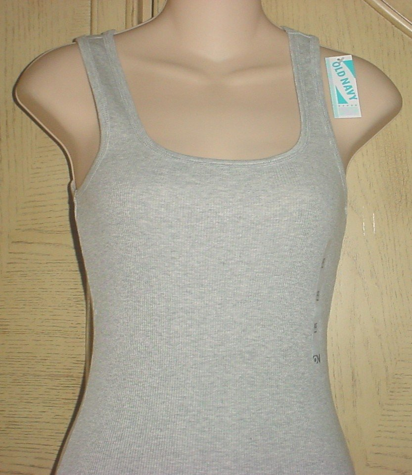 MISSES Old Navy PERFECT TANK TOP Ribbed Tee PALE GRAY Medium 8/10 Cotton