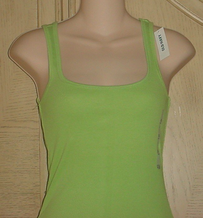MISSES Old Navy PERFECT TANK TOP Ribbed Tee LIME GREEN Small 4/6 Cotton