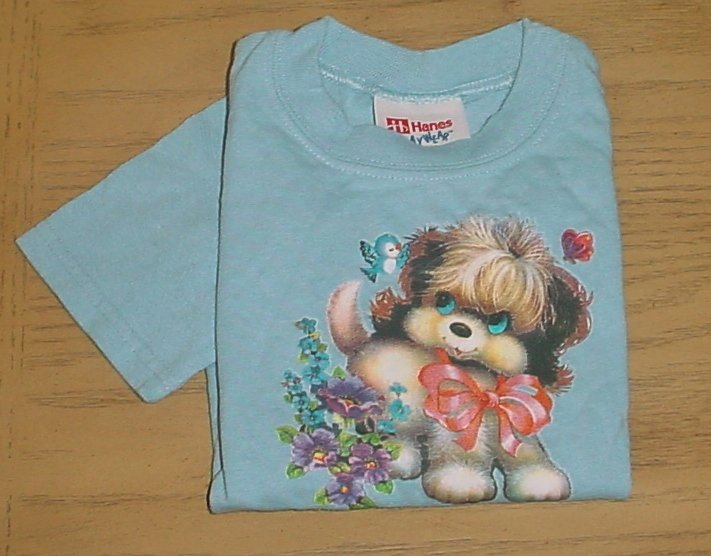 New HANES Toddler PUPPY DOG T-SHIRT Graphic Top 2T Light Blue PRESHRUNK COTTON