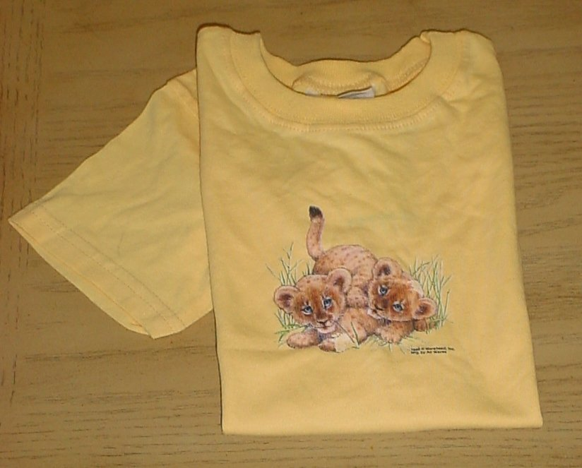 New HANES Toddler LION CUBS GRAPHIC TEE Kids Top T-Shirt 4T YELLOW Cotton