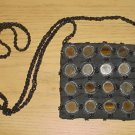 NEW Pierre Urbach SILK BEADED PURSE Evening Bag BLACK Shoulder Bag/ Crossbody Silk Lined
