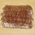 NEW Pierre Urbach FRINGE STRAW PURSE Bag DARK TAN Silk Lined