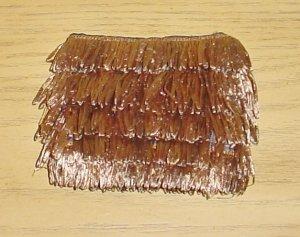 NEW Pierre Urbach FRINGE STRAW PURSE Bag DARK TAN Silk Lined