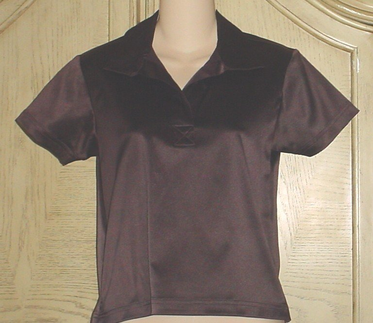 NEW Jordache SATIN POLO TOP Small STRETCH BLOUSE Brown SMALL