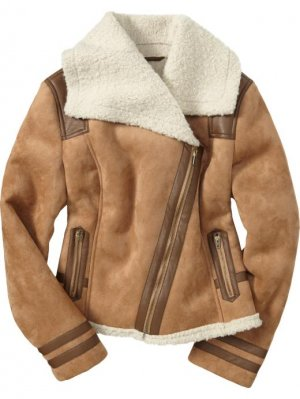 Old Navy Faux Suede Moto Jacket Size Xs Sherpa Lined Tan