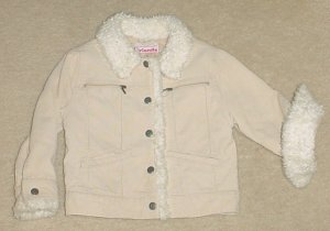 Girls CORDURORY JACKET Sherpa Trim Just Friends Coat SIZE 5 TAN Lined