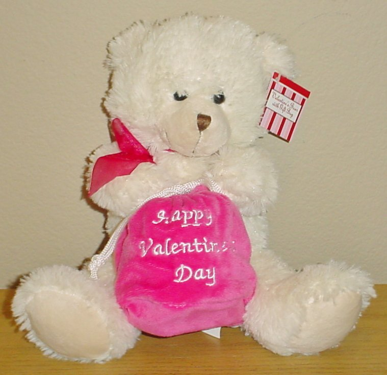 New PLUSH TEDDY BEAR Valentines Stuffed Animal holding Gift Bag
