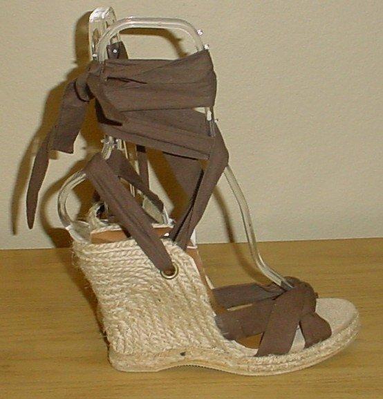 Old Navy PLATFORM ESPADRILLES Ankle-Tie Sandals SIZE 6M BROWN Shoes