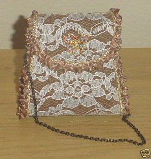 NIB MINI VICTORIAN PURSE Evening handbag BRONZE Satin and Lace