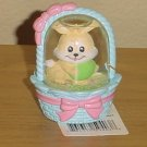 New MINI EASTER SNOW GLOBE Tiny Bunny in Basket BLUE Gift Decor