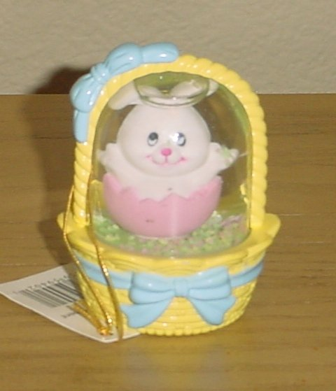 New MINI EASTER SNOW GLOBE Tiny Bunny in Basket YELLOW Gift Decor