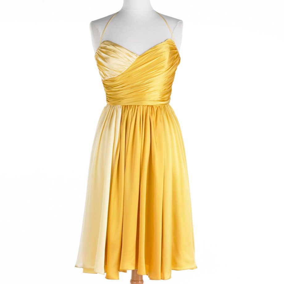 NWT Betsey Johnson DRESS Sunny Sweetheart SIZE 2 YELLOW OMBRE Cocktail Evening Occasion SILK