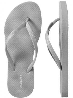 NEW Ladies FLIP FLOPS Old Navy Sandals SIZE 10 SILVER Shoes pool beach