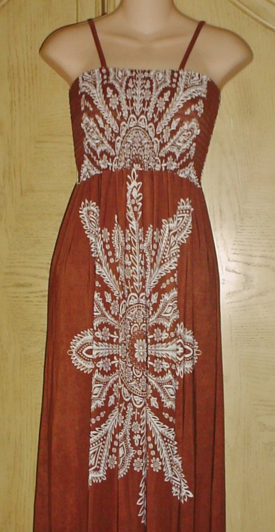 New MAXI DRESS Ladies Boho Stretch Jersey SMALL Brown Print