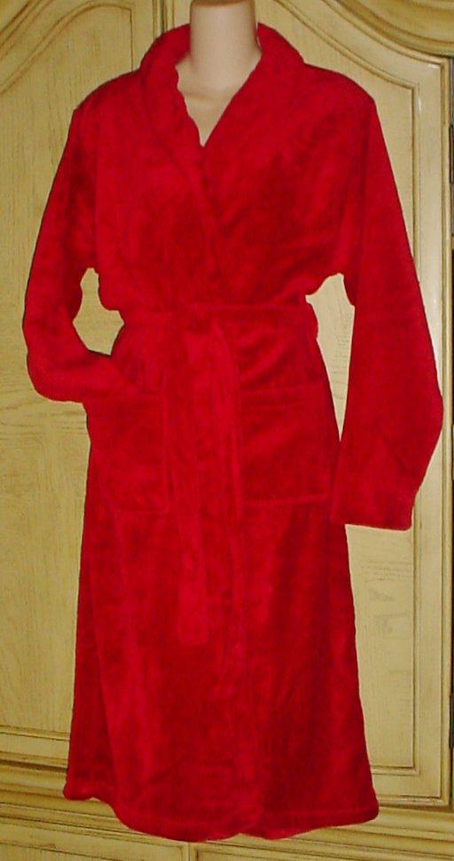 Ladies PLUSH ROBE & SPA ACCESSORIES GIFT SET 4 Piece CRANBERRY RED One Size Fits All BOXED