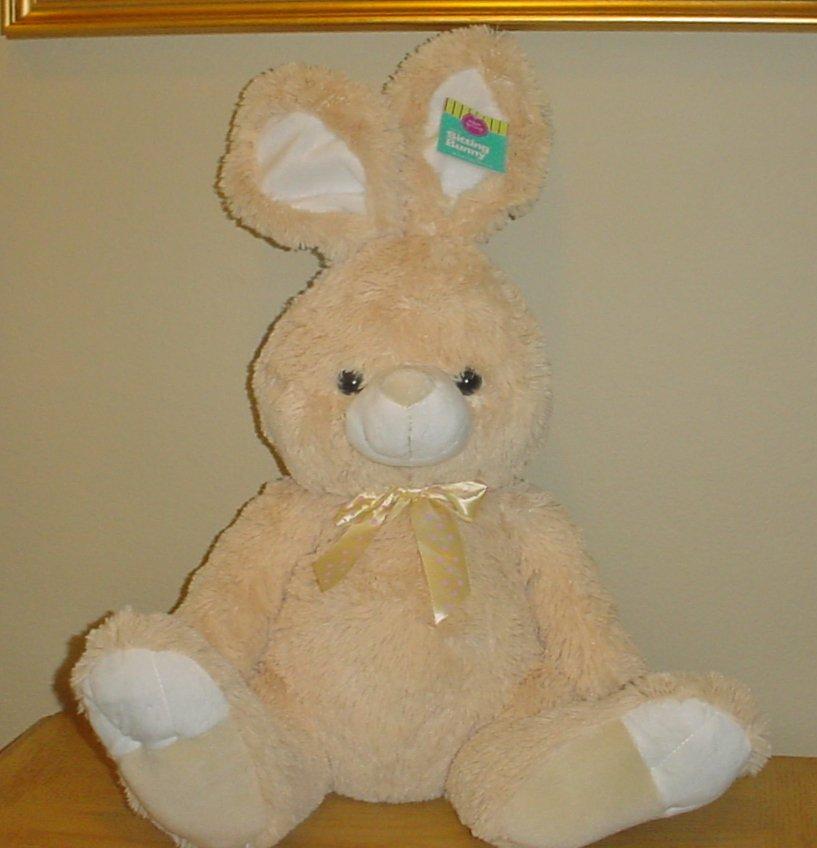 New LARGE PLUSH BUNNY Stuffed Animal 2 Feet High BEIGE Nursery Decor Gift
