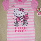 NEW Sanrio HELLO KITTY TOP Girls Glitter Graphic T-Shirt SIZE 5 PINK STRIPE Cotton