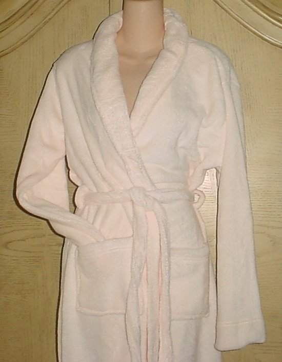 NEW Ladies SPA ROBE Plush Mid Calf Bathrobe CREAM BEIGE One Size Fits All