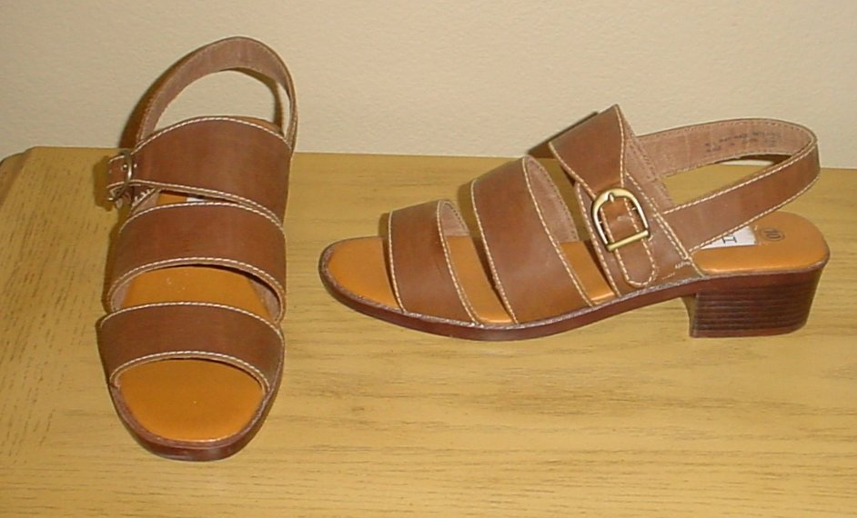 NEW Ladies SANDALS Strappy Ankle Buckle Shoes 10M BROWN