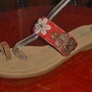 NEW Nicole BEADED SANDALS Ladies Leather Shoes 11M CORAL