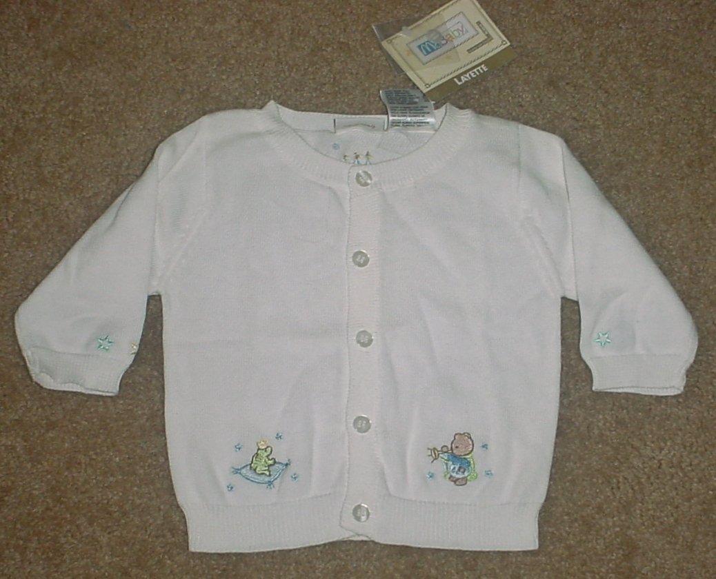 NWT McBaby CARDIGAN SWEATER Newborn Layette SIZE 0-3 MONTHS White Cotton