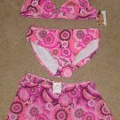 NWT Girls SWIMSUIT 3 Piece Bikini + Cover up XL 14/16 HOT PINK Print
