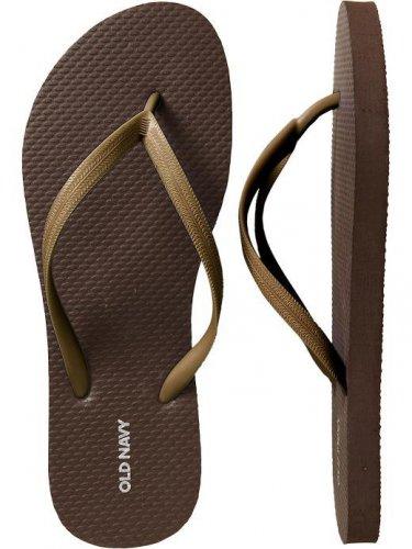 New METALLIC FLIP FLOPS Ladies Old Navy Thong Sandals SIZE 10M BRONZE Shoes NEW
