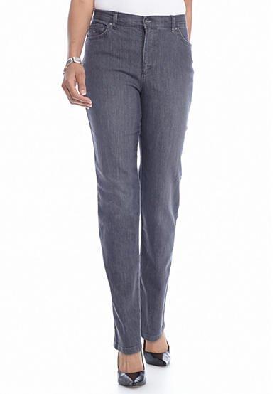NWT Gloria Vanderbilt JEANS Amanda Stretch Pants SIZE 16 LONG Gray