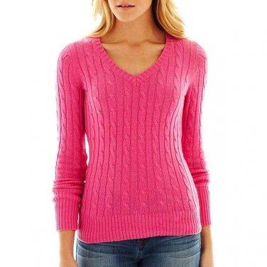 NWT Ladies SWEATER jcp V- Neck Top XXL (Size 18) TALL Fucshia Pink
