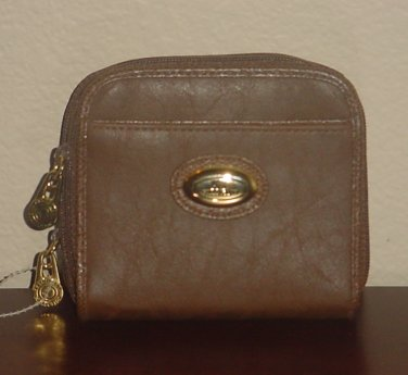 NEW Ladies WALLET Kathy Lee French Zip Around Clutch BROWN Faux Leather