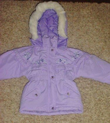 NEW Girls PUFFER COAT Toddler Outbrook Kids Hooded Jacket SIZE 2T Lavendar