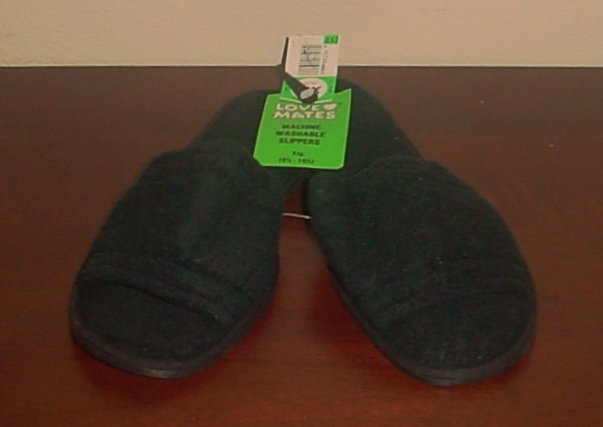 NWT Ladies SLIPPERS  Cotton Terry Scuffs SIZE 9.5-10.5M BLACK