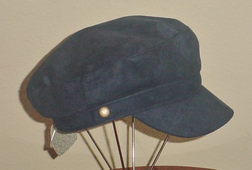 NWT Ladies NEWSBOY CAP Cabbie Hat NAVY BLUE One Size SUEDE